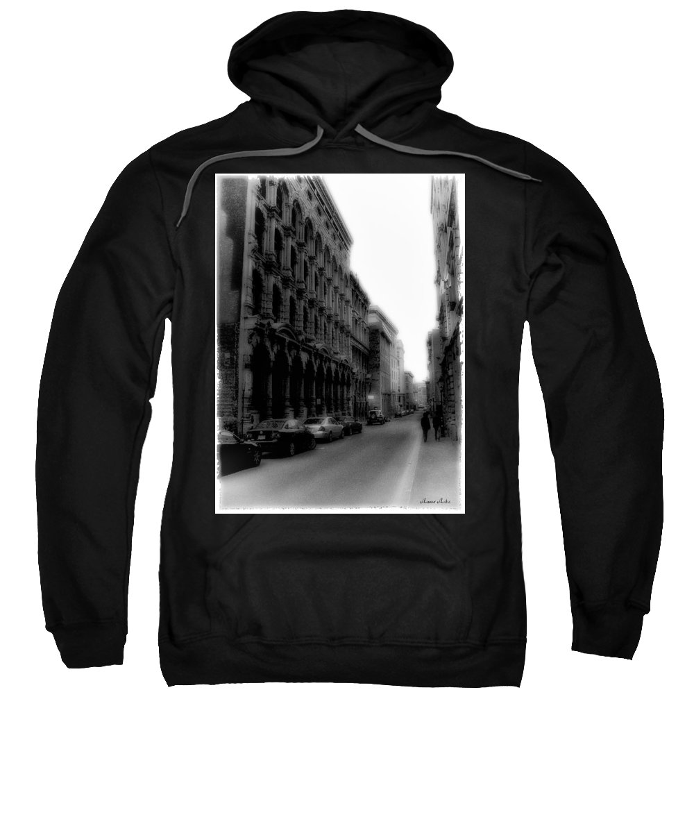 Montreal Sweatshirt featuring the photograph Montreal Street Black And White by Marko Mitic
