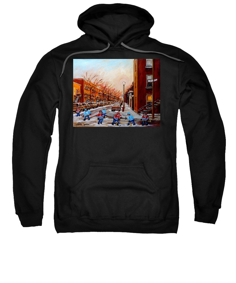 Montreal Streetscene Sweatshirt featuring the painting Montreal Street Hockey Game by Carole Spandau