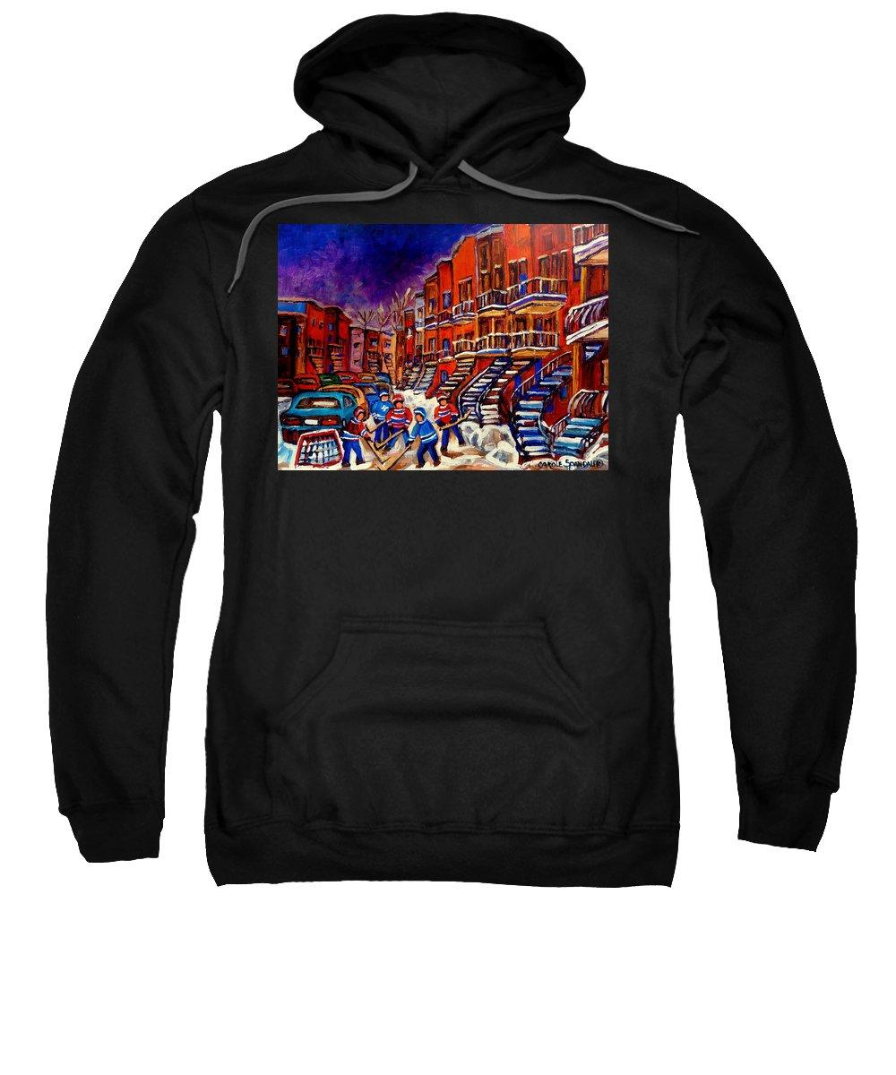 Montreal Sweatshirt featuring the painting Montreal Street Scene Paintings Hockey On De Bullion Street  by Carole Spandau