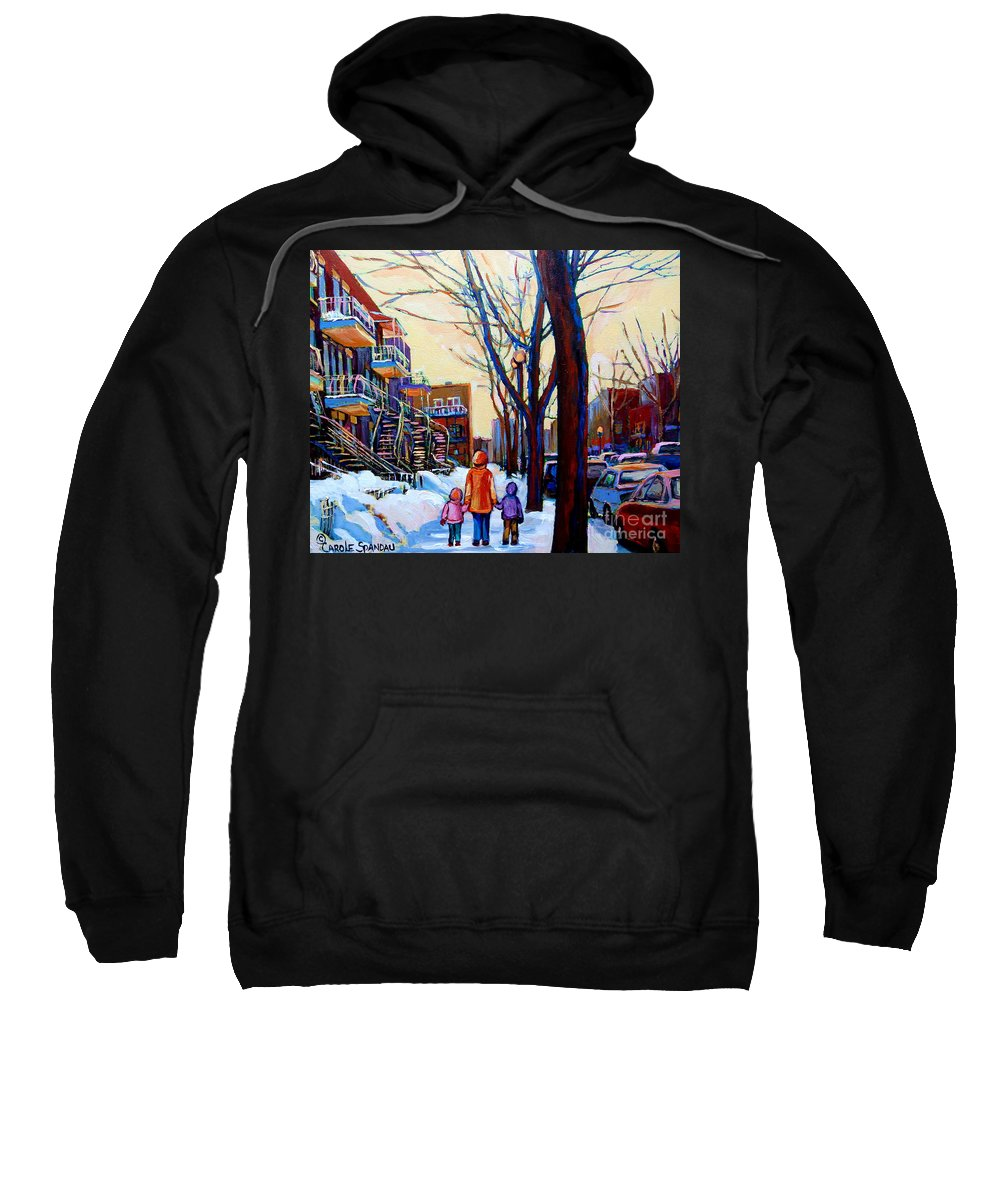 Montreal Sweatshirt featuring the painting Montreal Winter by Carole Spandau