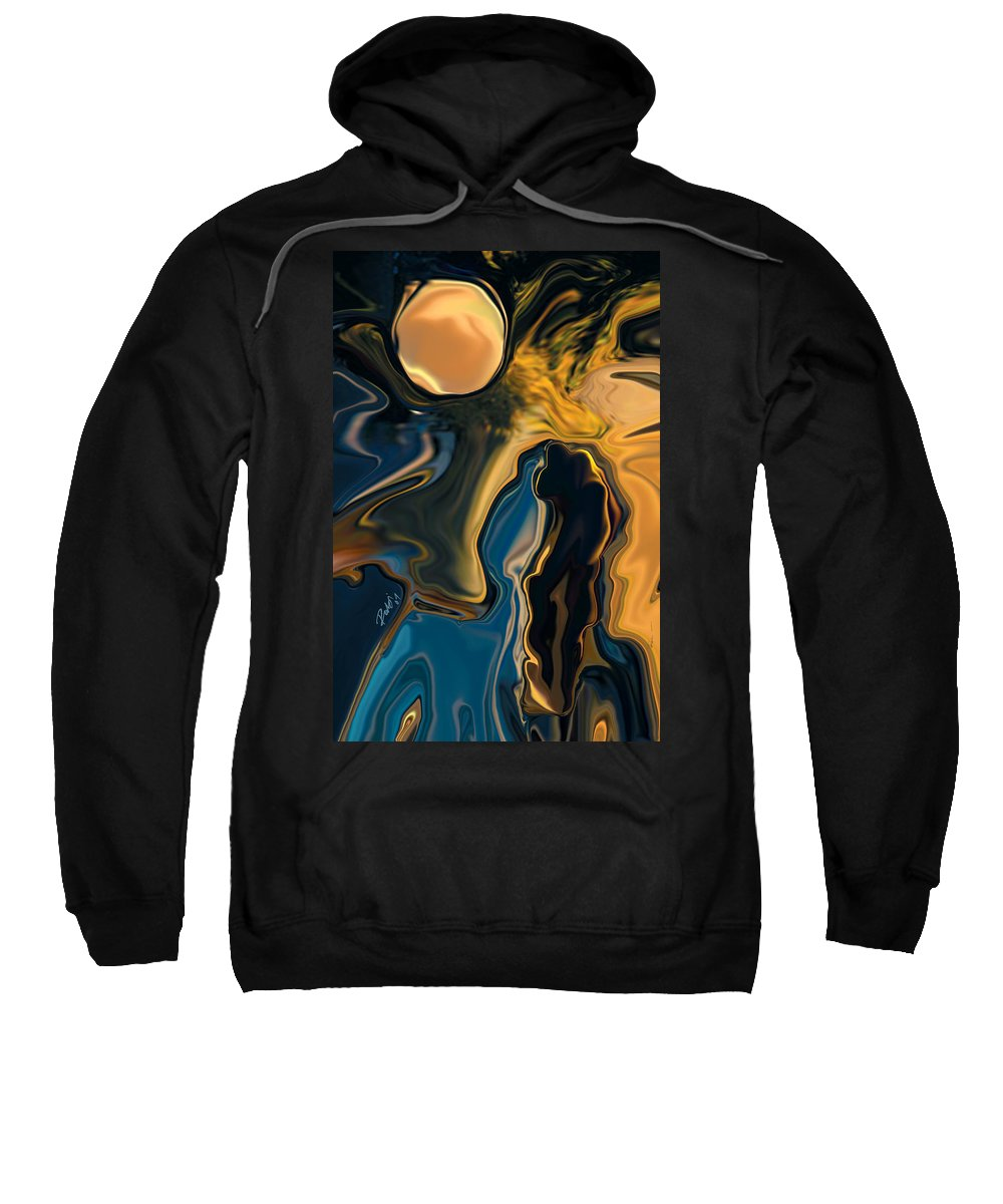 Moon Sweatshirt featuring the digital art Moon And Fiance by Rabi Khan