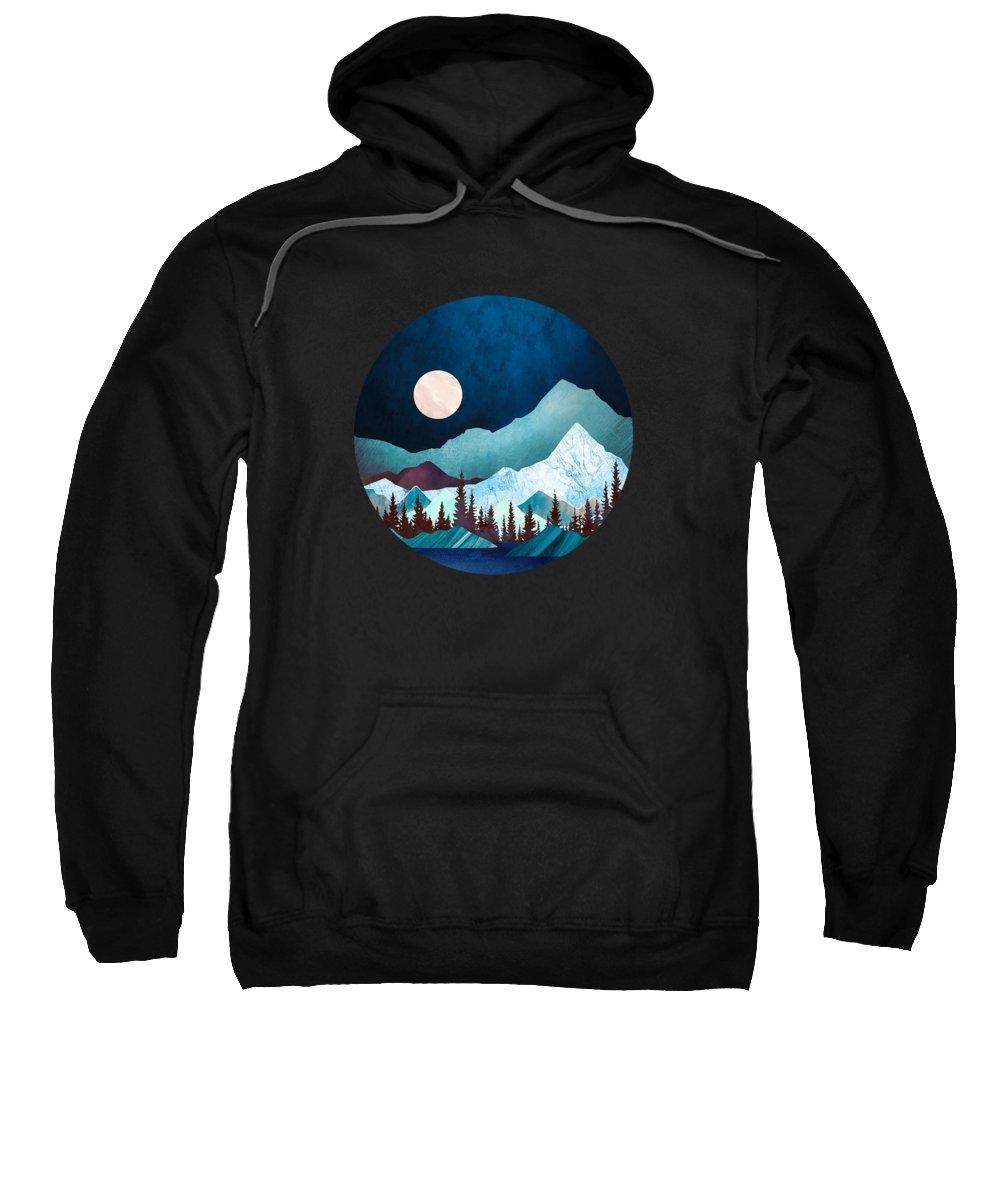 Digital Sweatshirt featuring the digital art Moon Bay by Spacefrog Designs