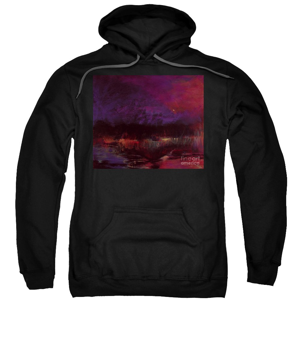 Impressionism Sweatshirt featuring the painting Moon Glow 5-6-11 Julianne Felton by Julianne Felton