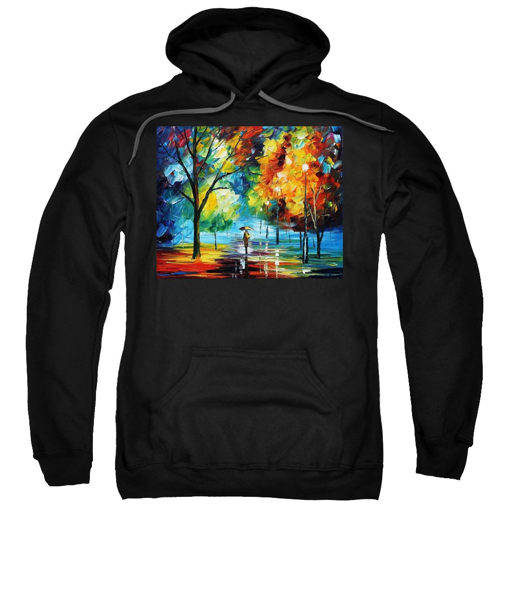 Afremov Sweatshirt featuring the painting Moon Light Through The Rain by Leonid Afremov