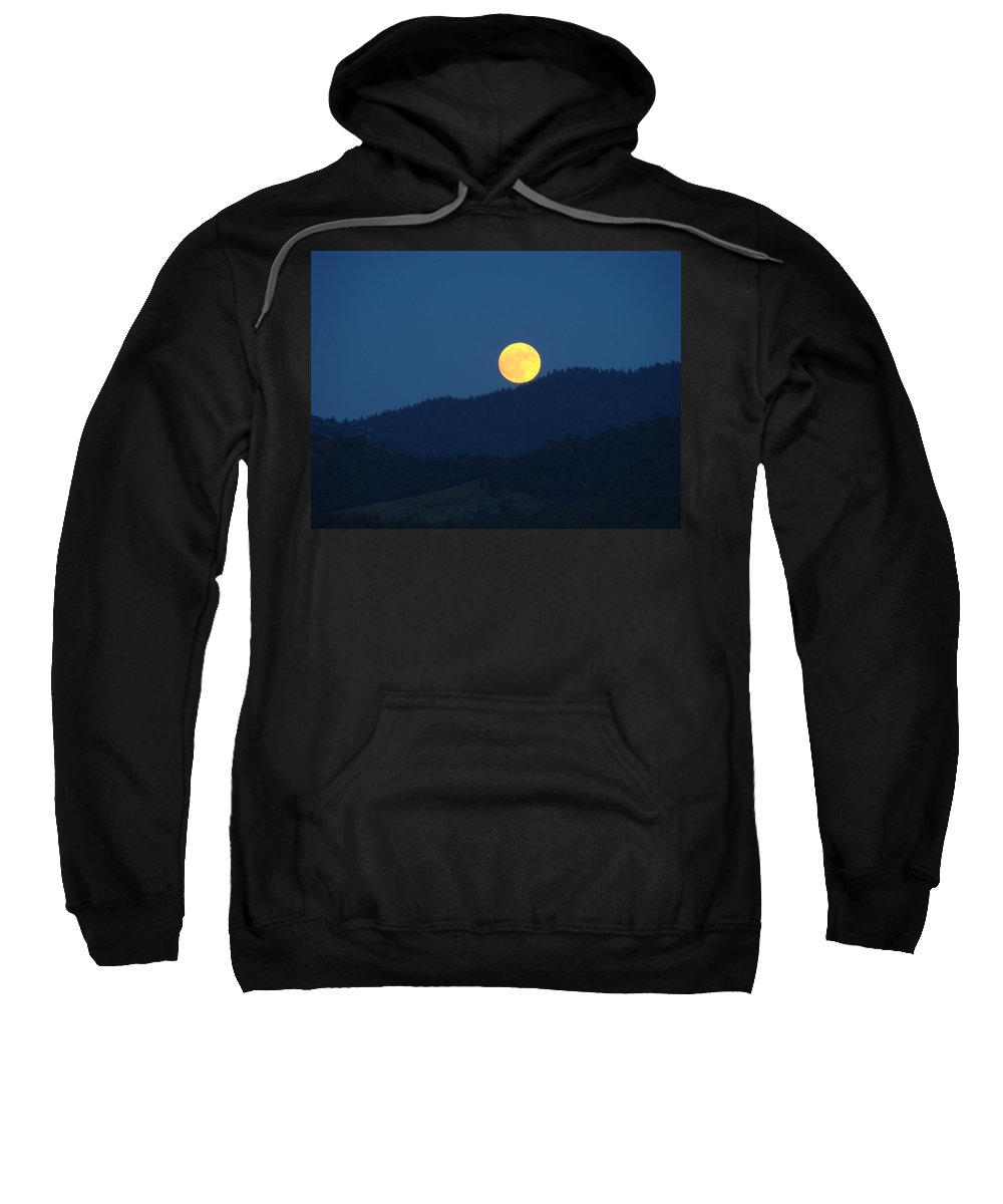 Moon Sweatshirt featuring the photograph Moon Orange Full Moon Blue Twilight Mountains Giclee Art Prints by Baslee Troutman