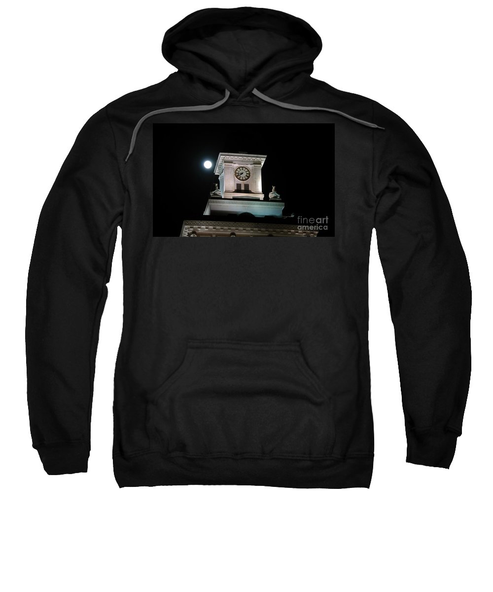 Full Moon Sweatshirt featuring the photograph Moon Over City Hall by David Lee Thompson