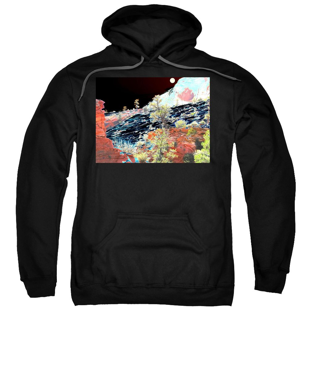 Photo Design Sweatshirt featuring the digital art Moon Over Utah by Will Borden