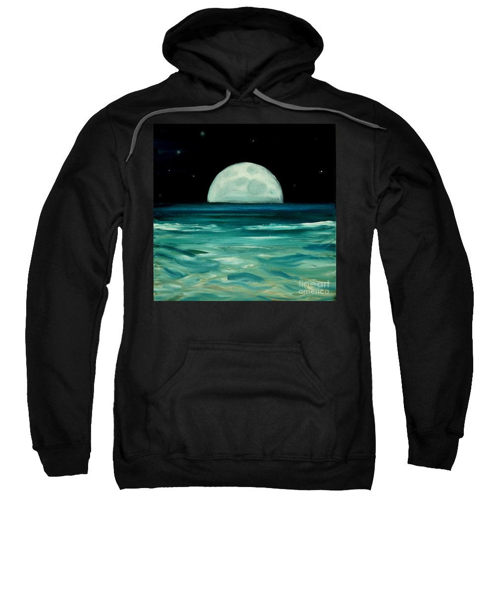 Moon Sweatshirt featuring the painting Moon Rising by Caroline Peacock