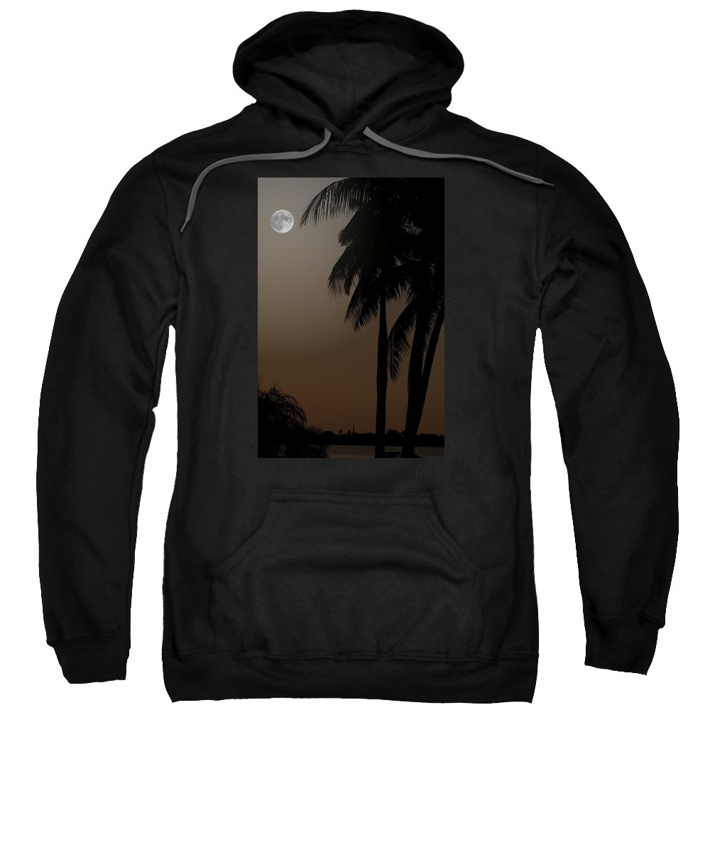 Moonlight Sweatshirt featuring the photograph Moonlight And Palms by Diane Merkle