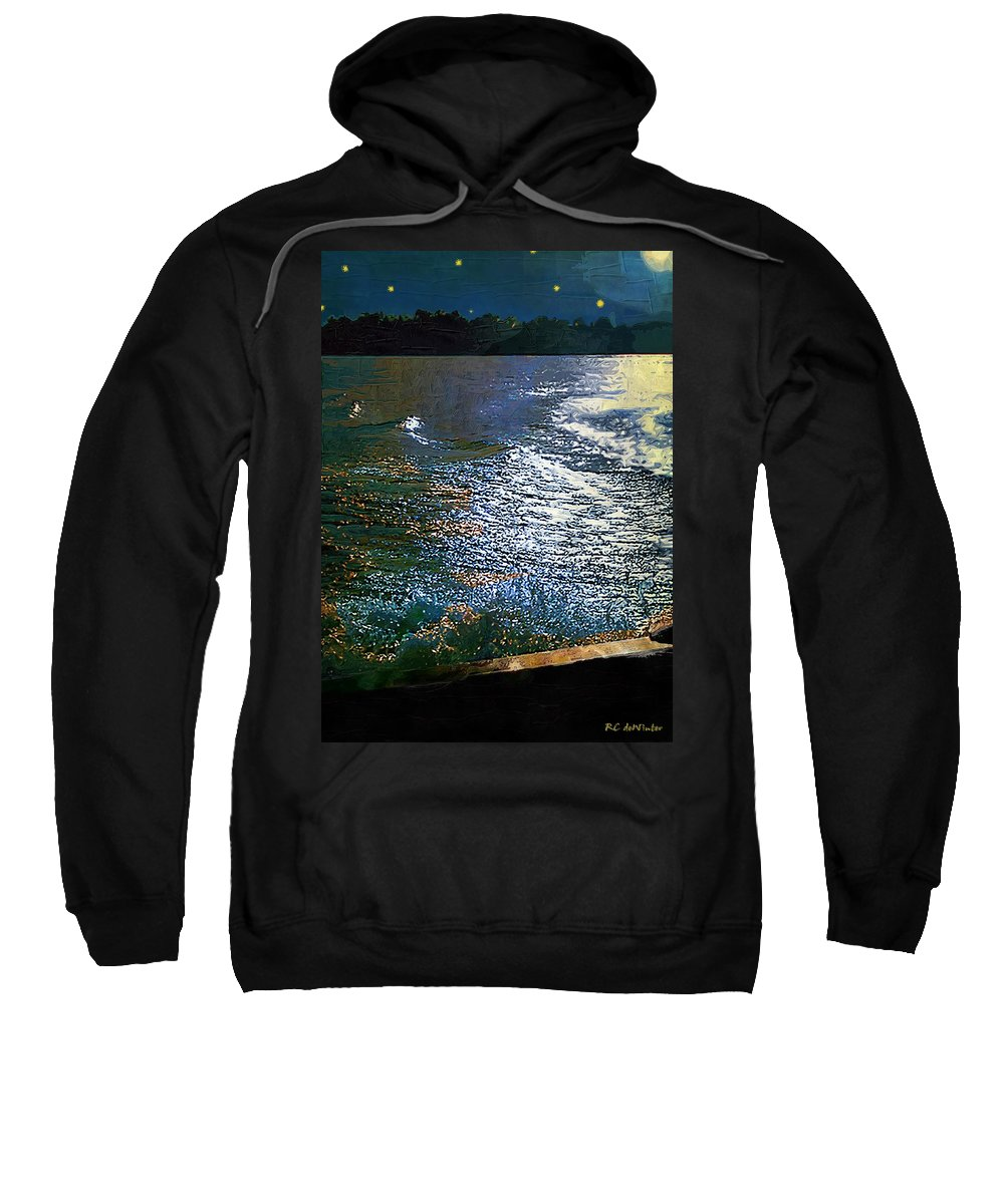 Impasto Sweatshirt featuring the painting Moonlight On The Mississippi by RC DeWinter