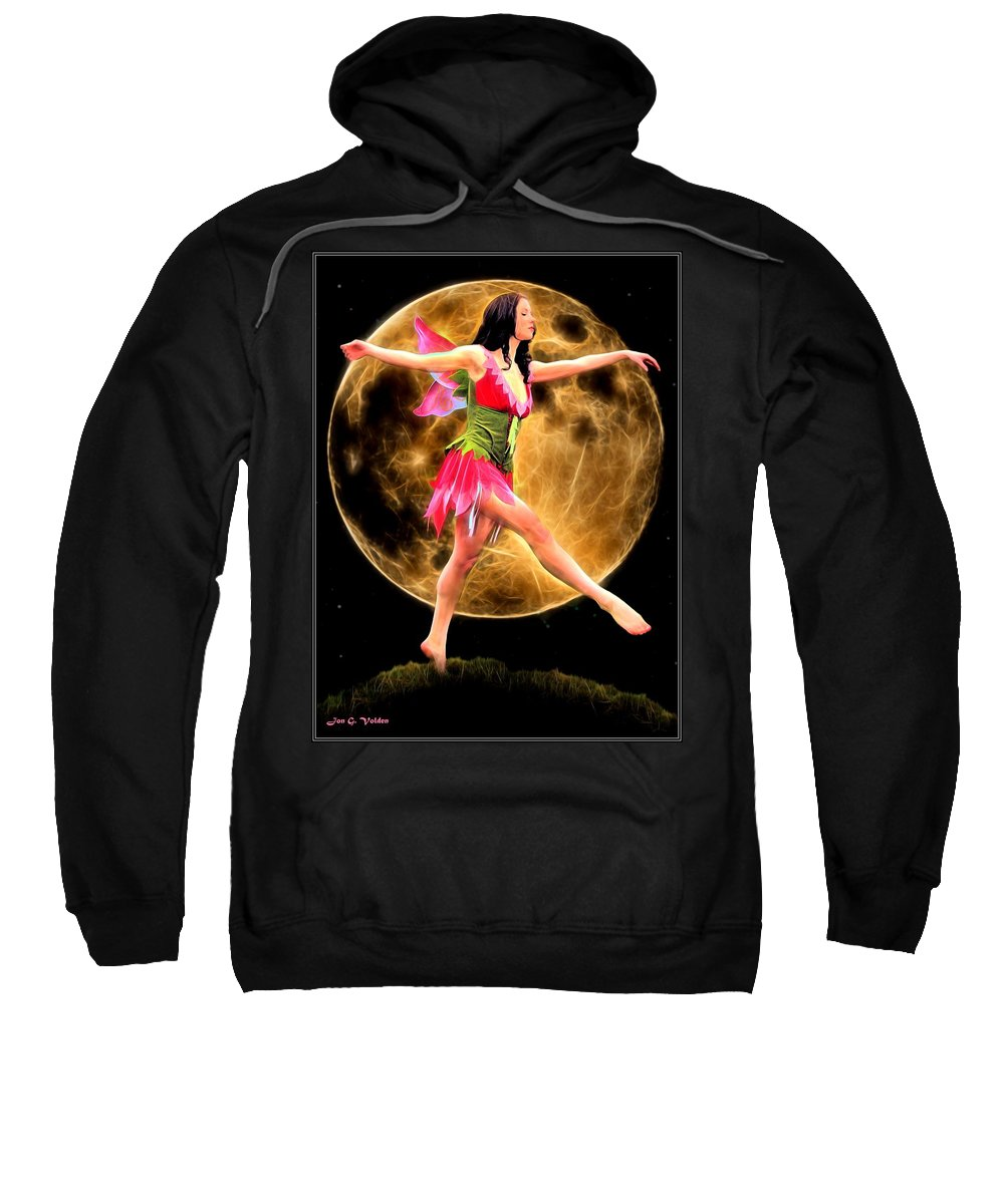 Fantasy Sweatshirt featuring the painting Moonlight Stroll Of A Fairy by Jon Volden