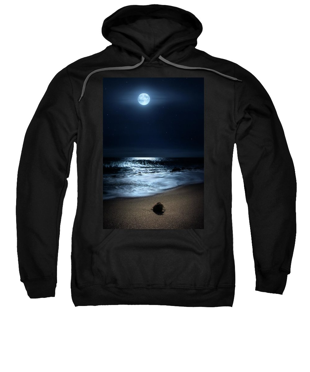 Full Moon Sweatshirt featuring the photograph Moonlit Coconut by Justin Kelefas