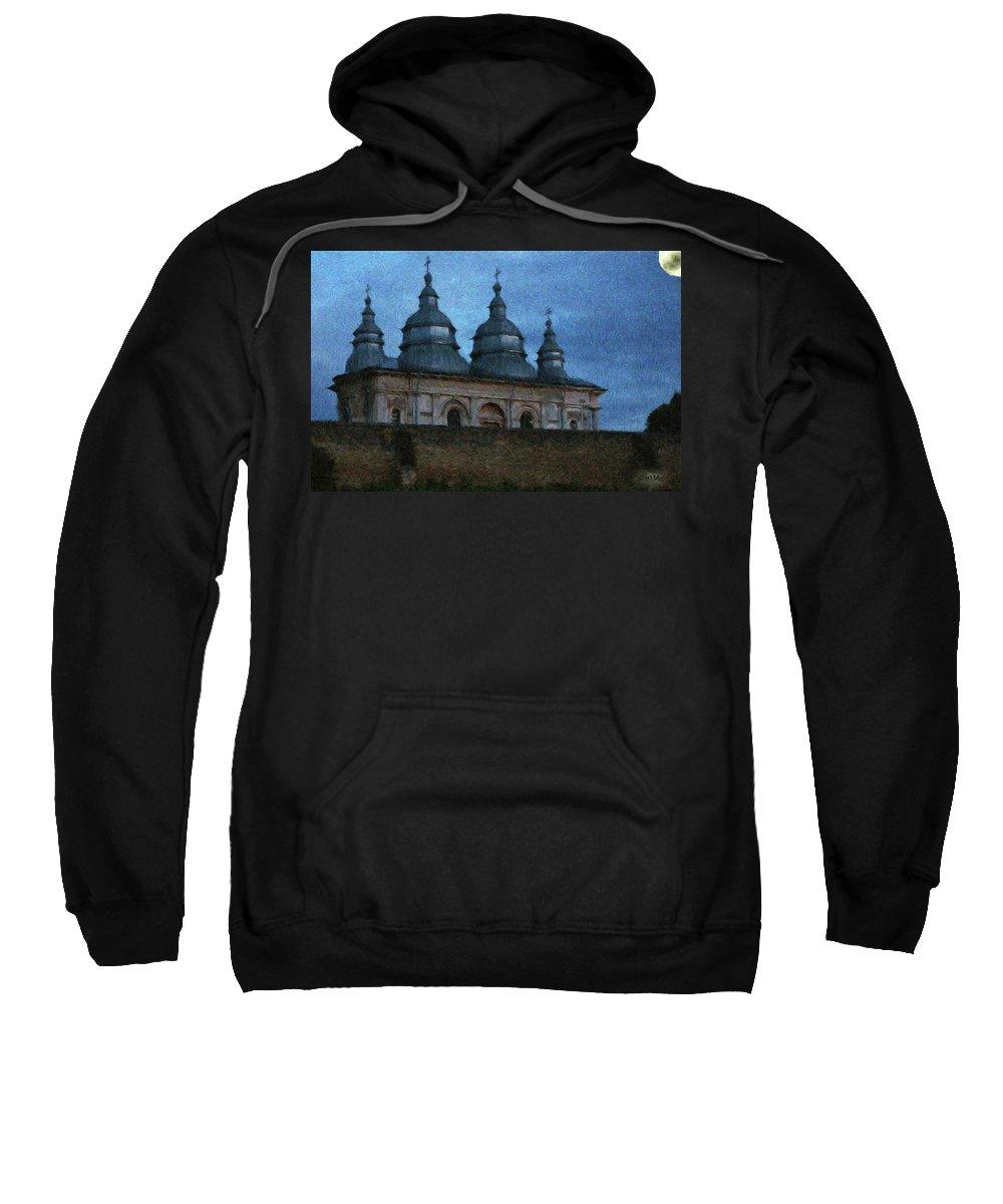 Chapel Sweatshirt featuring the painting Moonlit Monastery by Jeffrey Kolker