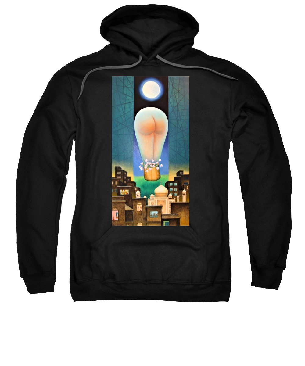 Romantic Sweatshirt featuring the painting Moonlit Night-b by Raju Bose