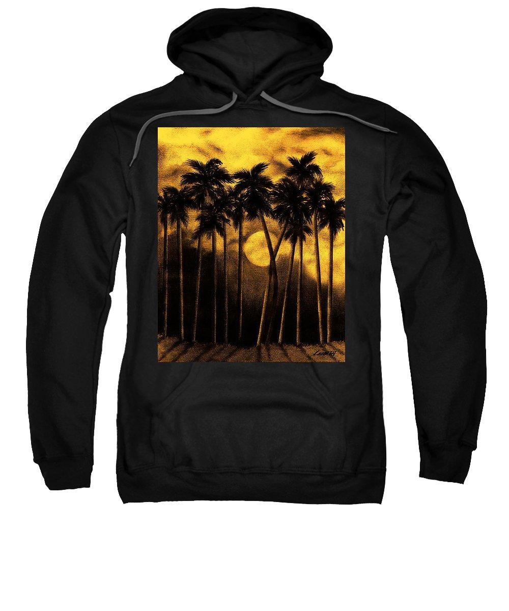 Moonlit Palm Trees In Yellow Sweatshirt featuring the mixed media Moonlit Palm Trees In Yellow by Larry Lehman