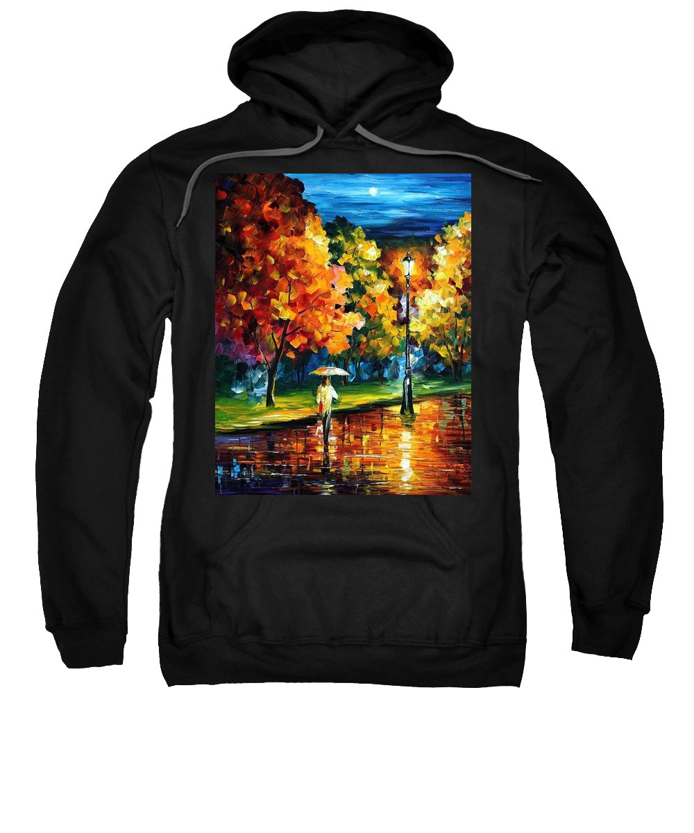 Afremov Sweatshirt featuring the painting Moony Night by Leonid Afremov