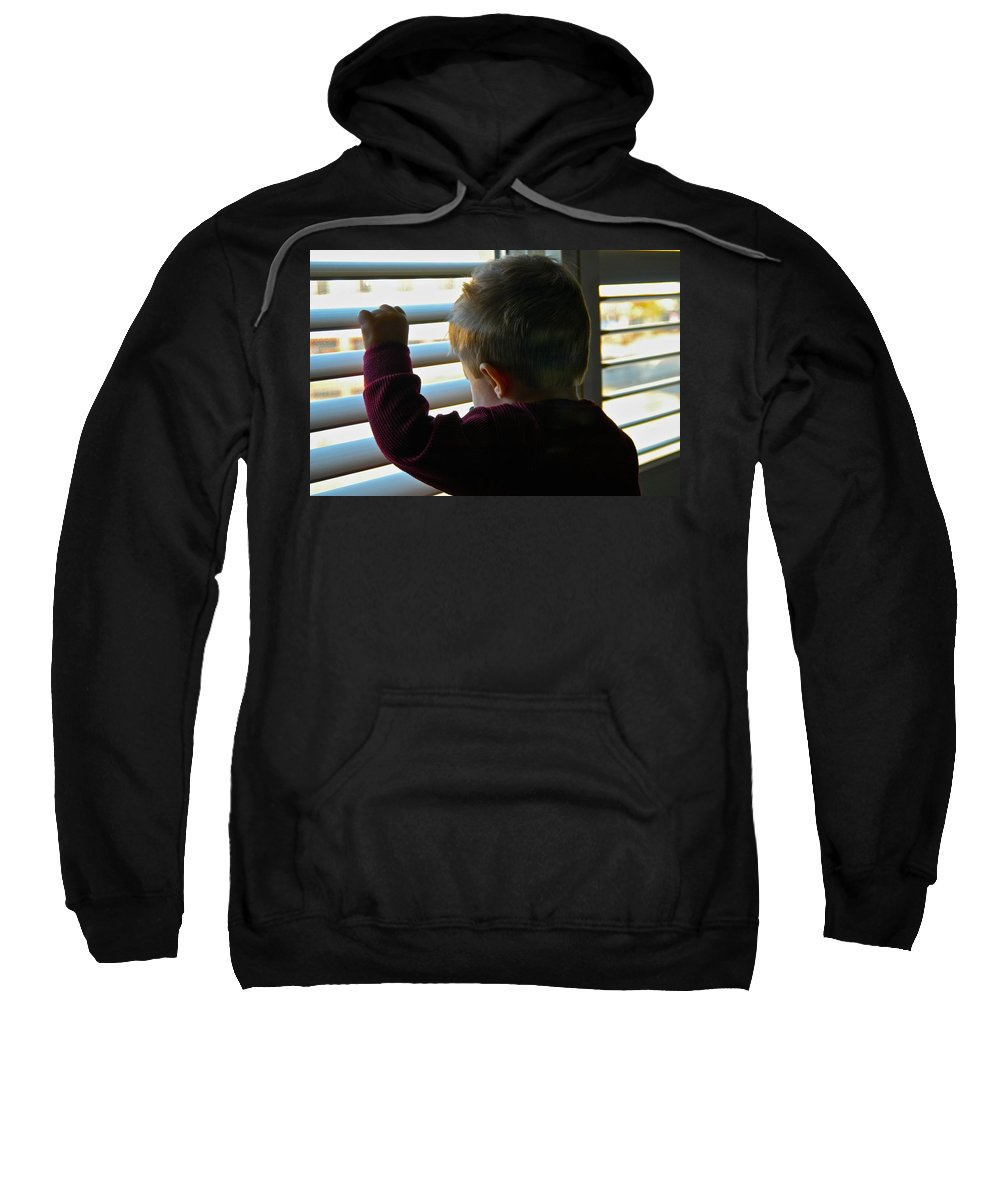 Blinds Sweatshirt featuring the photograph Morning Already by Dale Chapel