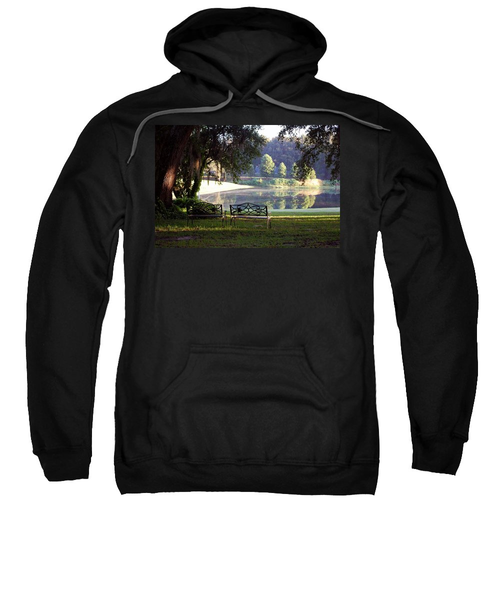 Bench's Sweatshirt featuring the photograph Morning By The Pond by Robert Meanor