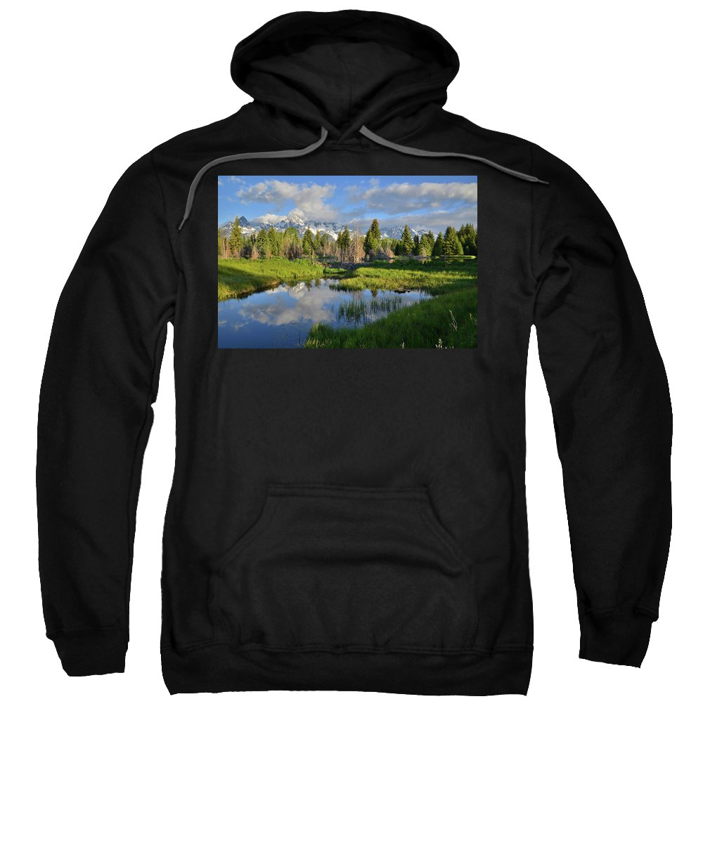 Grand Teton National Park Sweatshirt featuring the photograph Morning Clouds Over Tetons by Ray Mathis