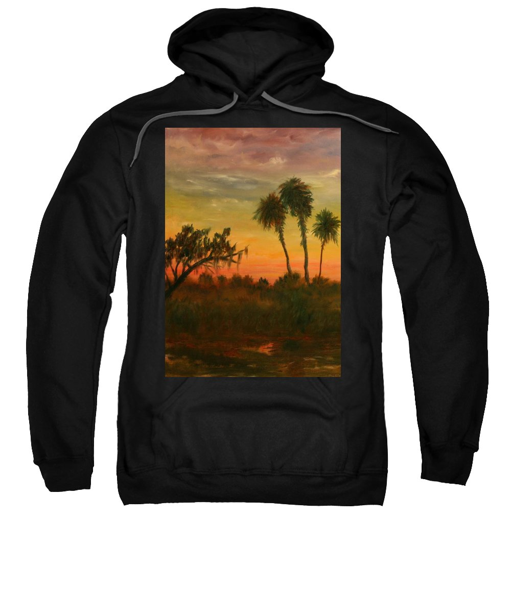 Palm Trees; Tropical; Marsh; Sunrise Sweatshirt featuring the painting Morning Fog by Ben Kiger