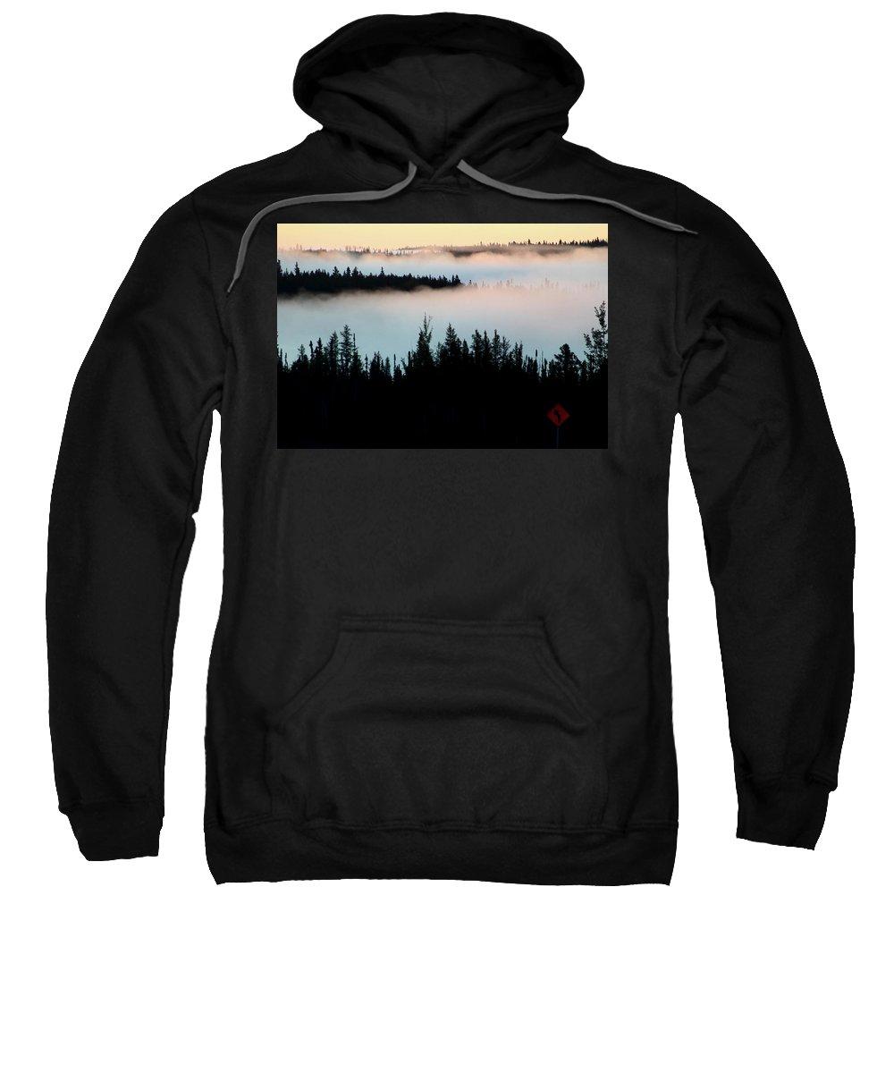 Morning Sweatshirt featuring the digital art Morning Fog In Northern Saskatchewan by Mark Duffy