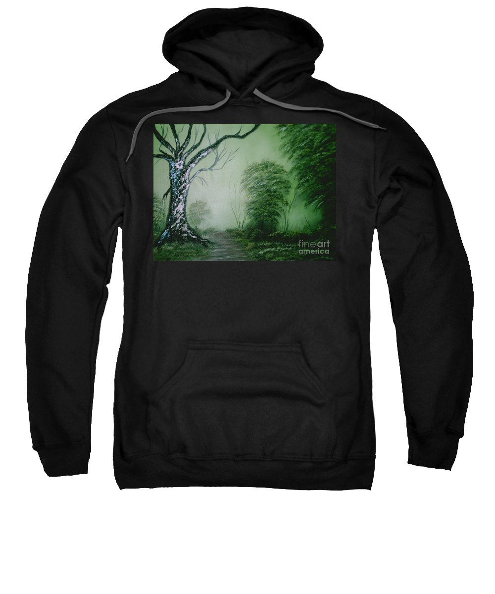 Trees Sweatshirt featuring the painting Morning Fog by Jim Saltis