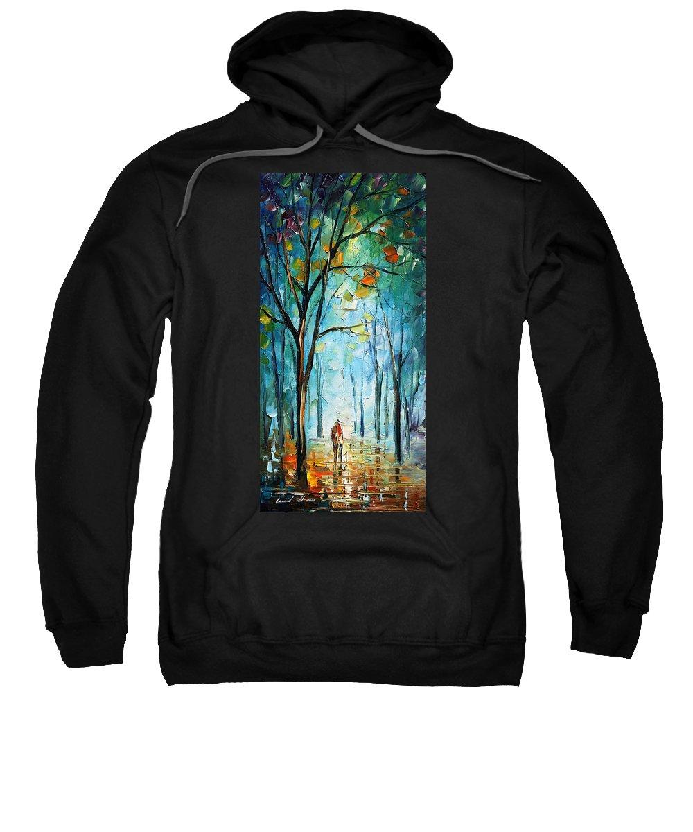 Afremov Sweatshirt featuring the painting Morning Fog by Leonid Afremov