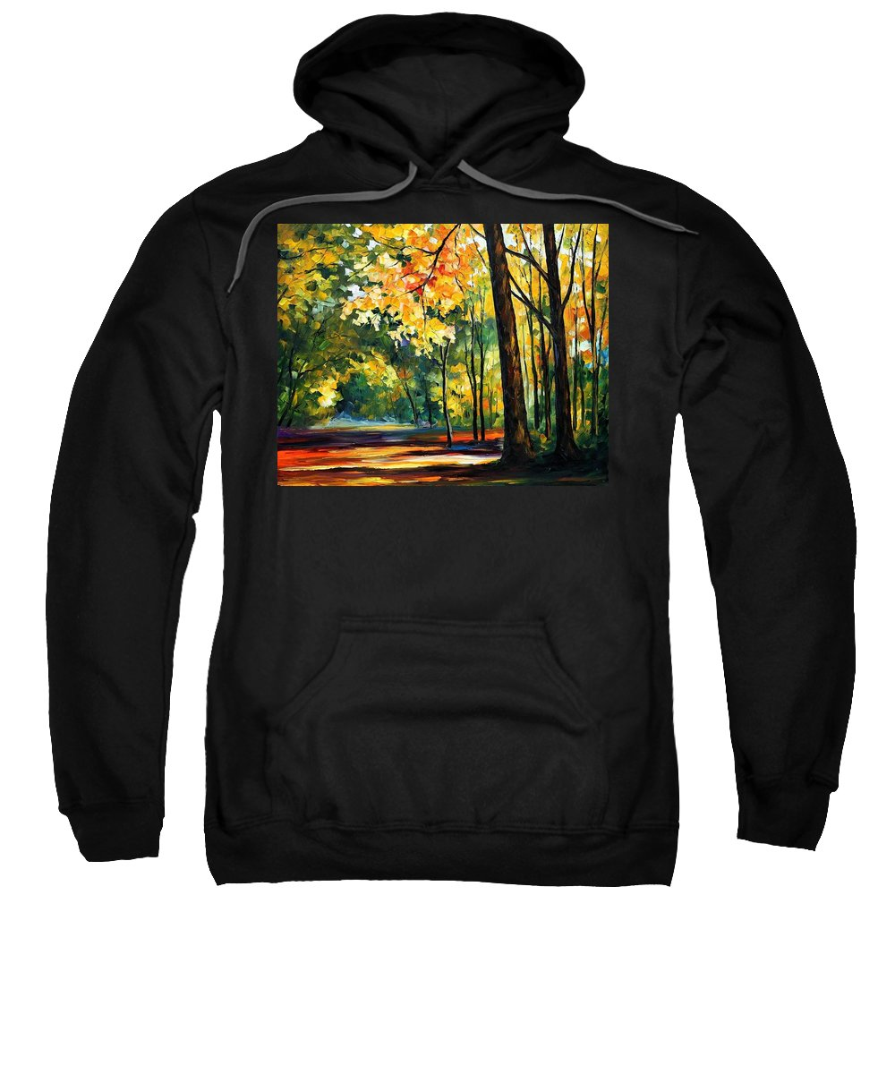 Afremov Sweatshirt featuring the painting Morning Forest by Leonid Afremov