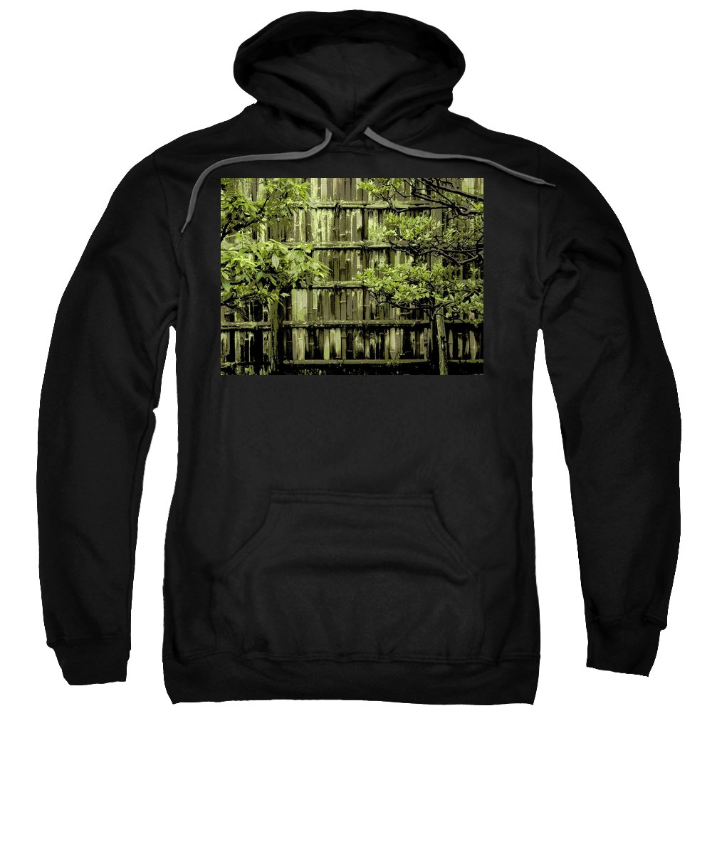 Moss Sweatshirt featuring the photograph Mossy Bamboo Fence - Digital Art by Carol Groenen