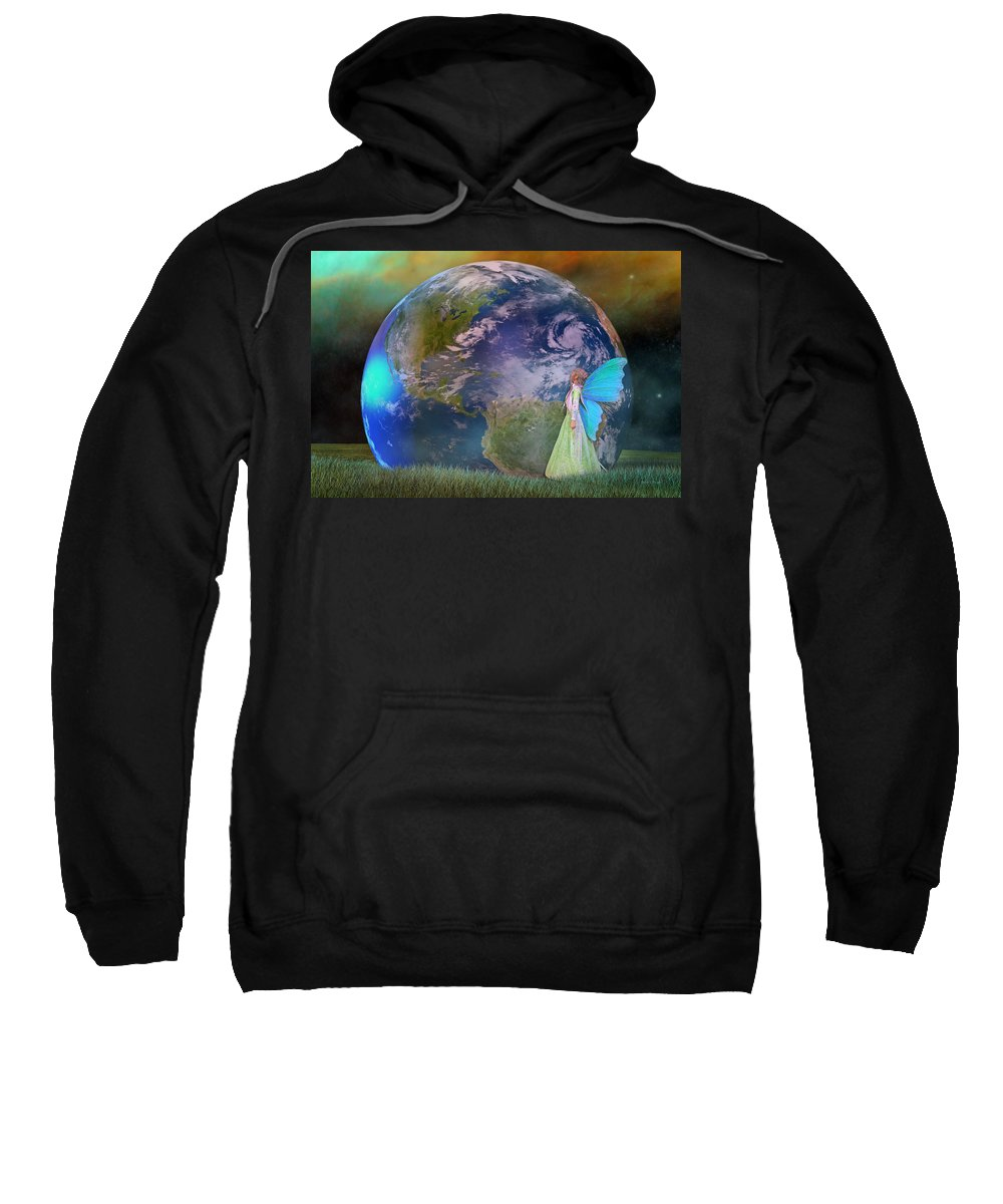 Fantasy Sweatshirt featuring the digital art Mother Earth Series Plate3 by Betsy Knapp