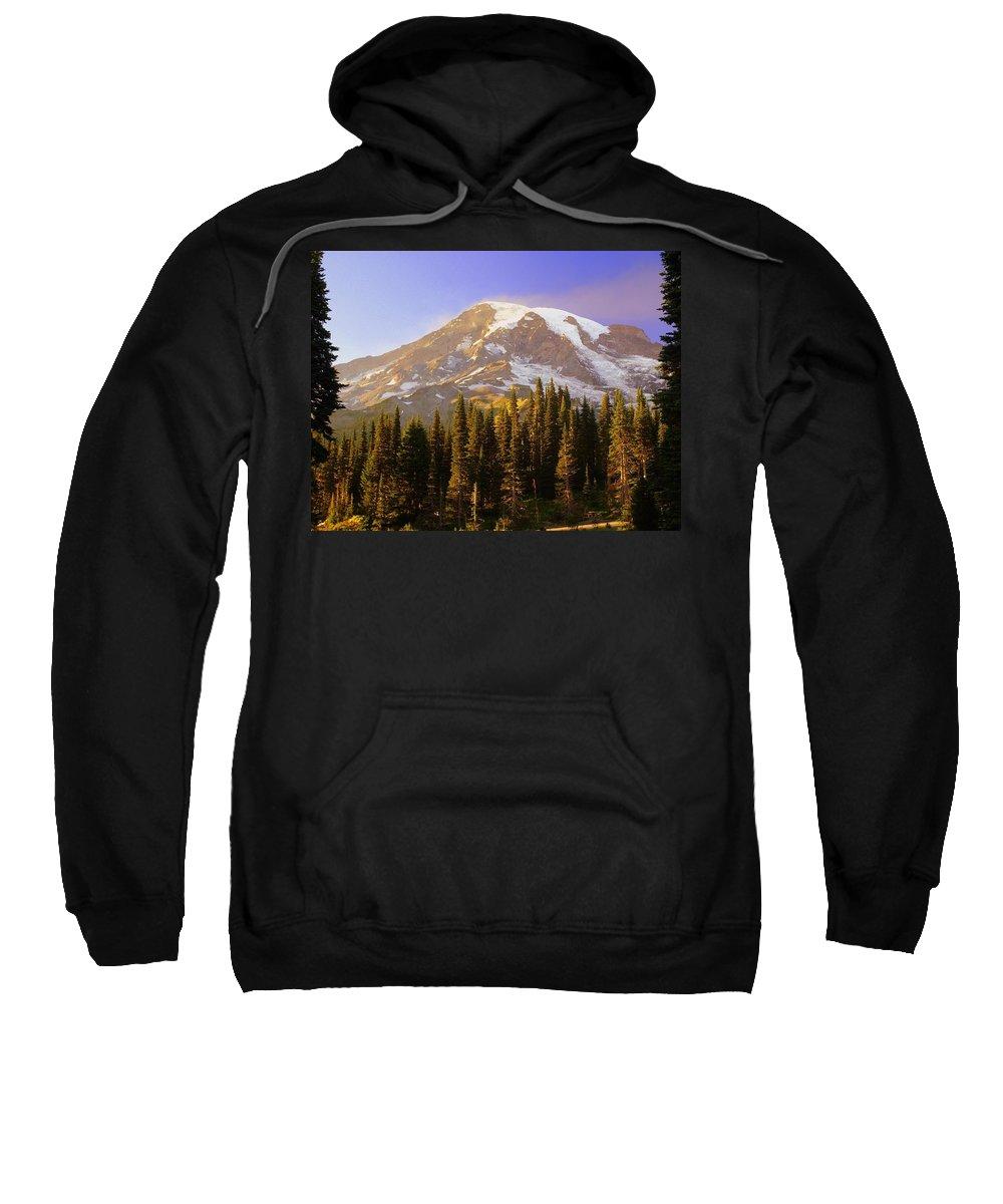 Mt. Raineer Sweatshirt featuring the photograph Mount Raineer 2 by Marty Koch