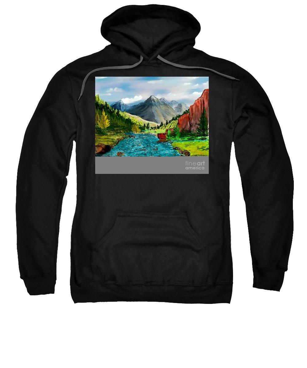 Digital Photograph Sweatshirt featuring the digital art Mountaian Scene by David Lane