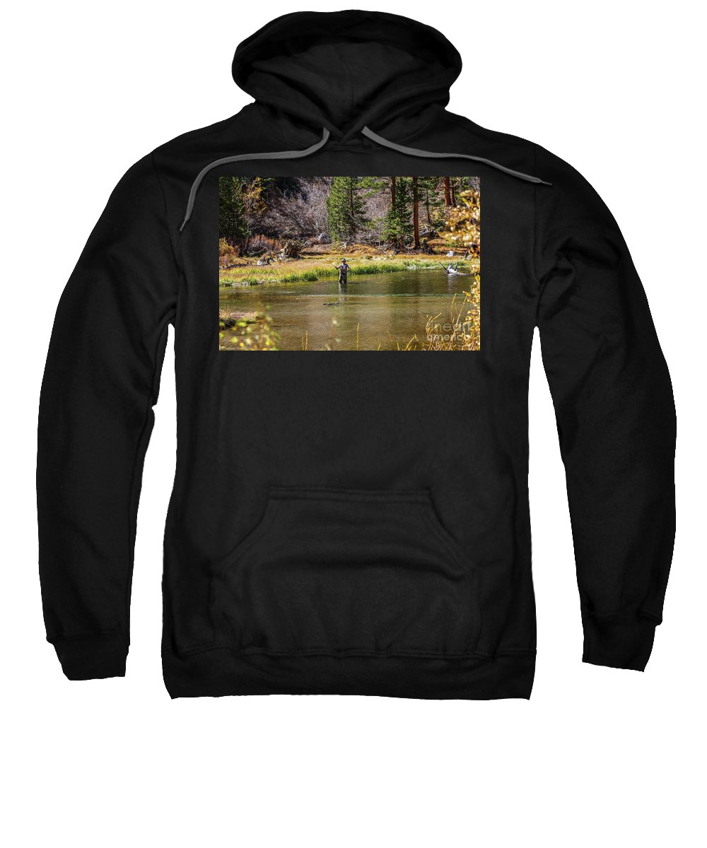 Bishop Sweatshirt featuring the photograph Mountain Fisherman by Tommy Anderson
