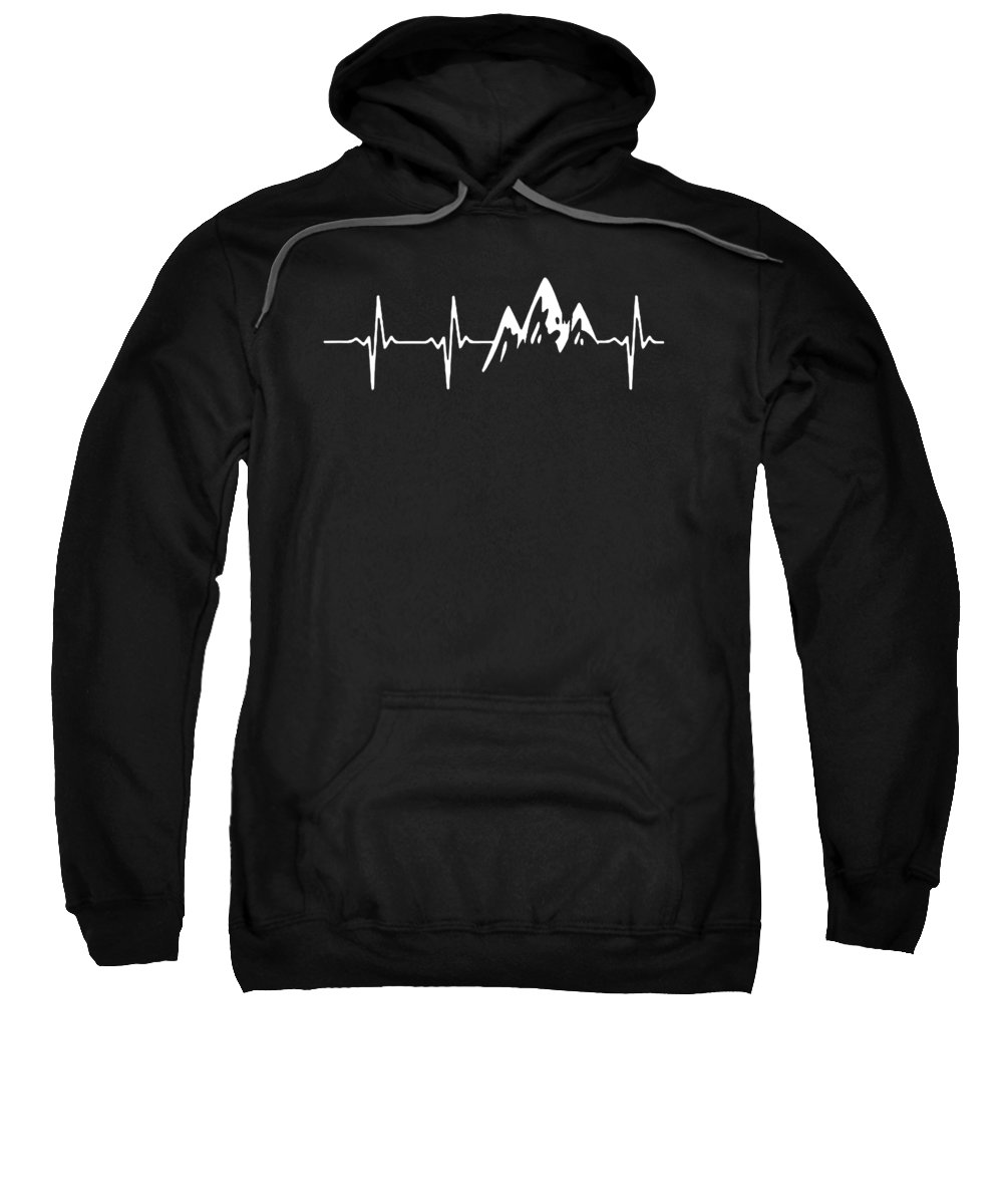 Mountain Sweatshirt featuring the digital art Mountain Heartbeat by Poetri Kempit