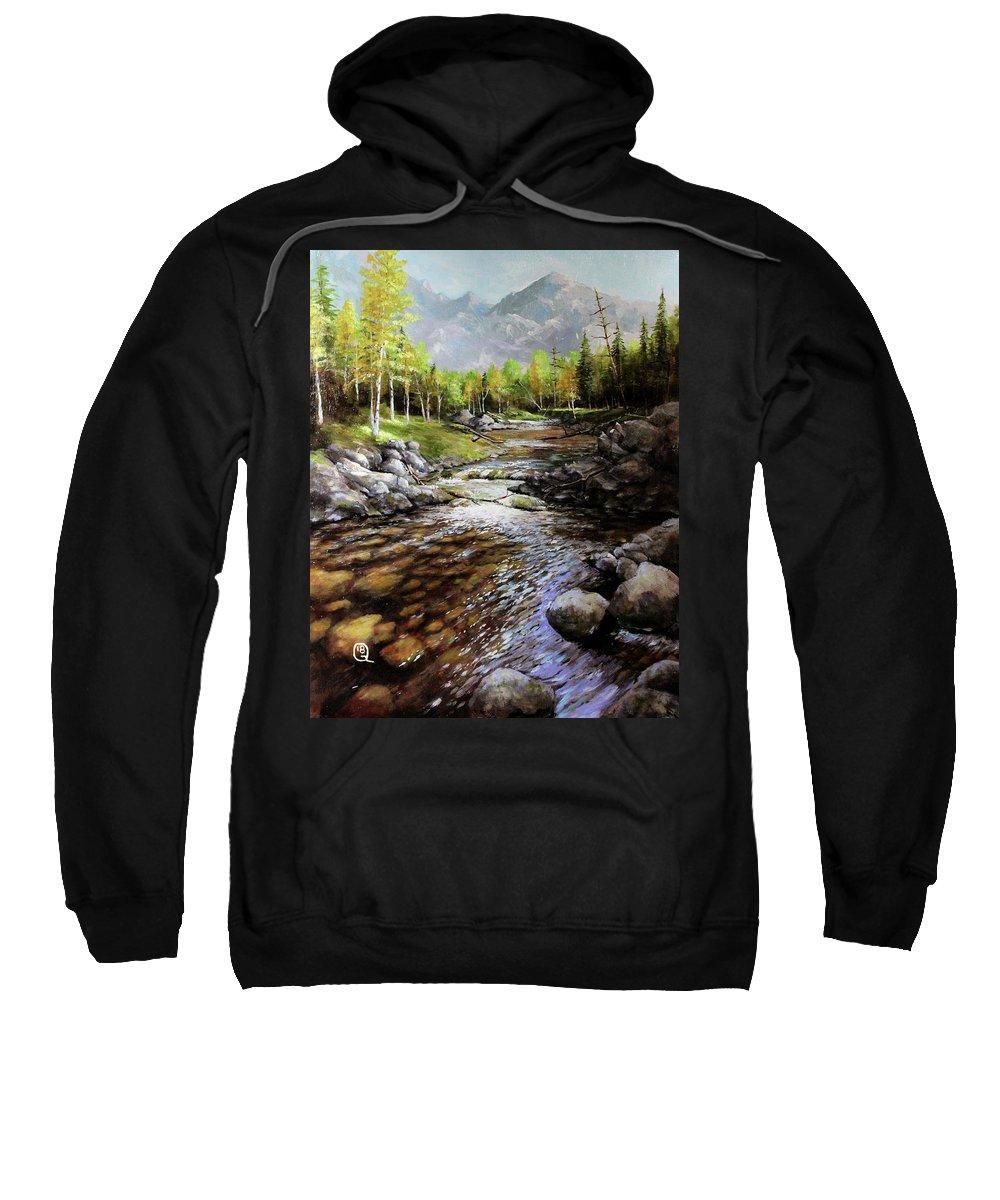 Mountain Stream Sweatshirt featuring the painting Mountain Stream by Jon Quinn
