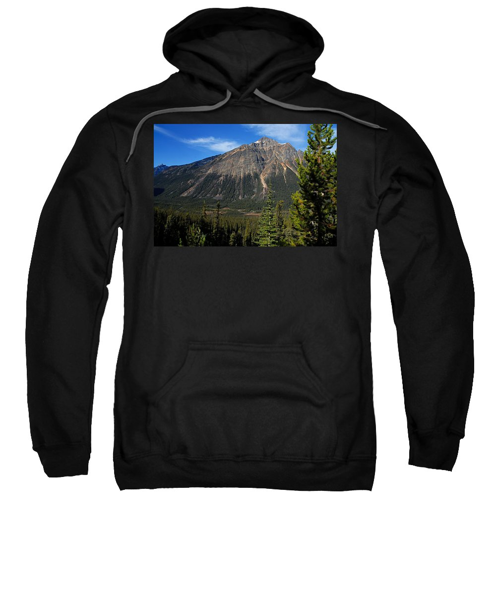 Jasper National Park Sweatshirt featuring the photograph Mountain View 2 by Larry Ricker