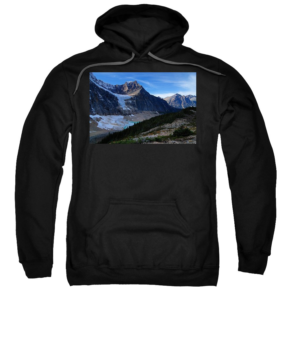 Mount Edith-cavell Sweatshirt featuring the photograph Mountains And Glaciers by Larry Ricker