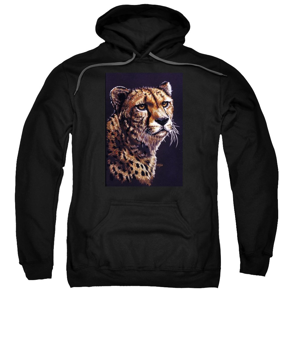 Cheetah Sweatshirt featuring the drawing Movin On by Barbara Keith