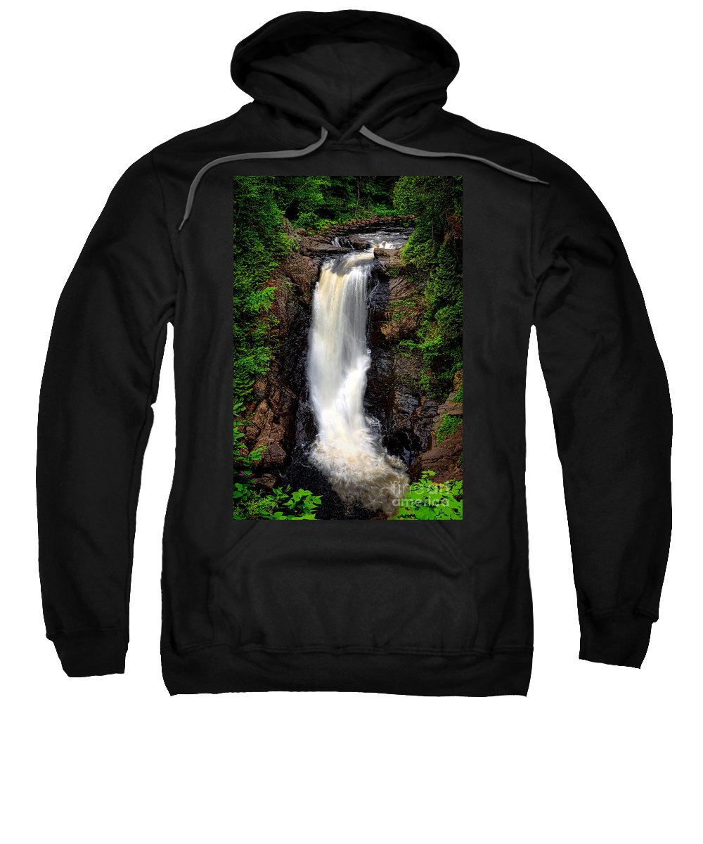 Moxie Sweatshirt featuring the photograph Moxie Falls by Olivier Le Queinec