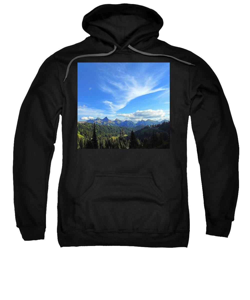 Cloud Sweatshirt featuring the photograph Mt. Rainier National Park by Sandra Peery