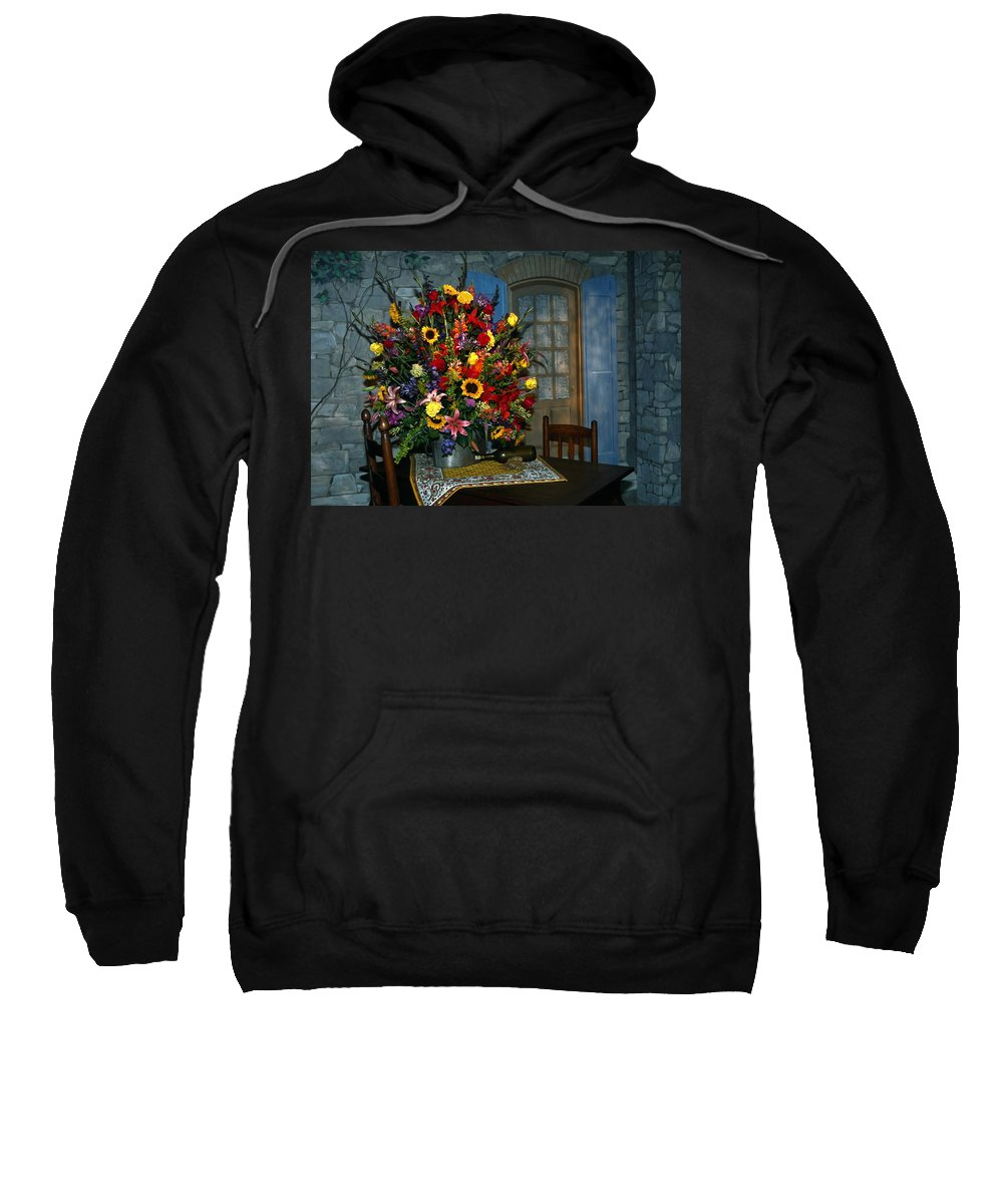 Large Sweatshirt featuring the photograph Multicolor Floral Arrangement by Sally Weigand