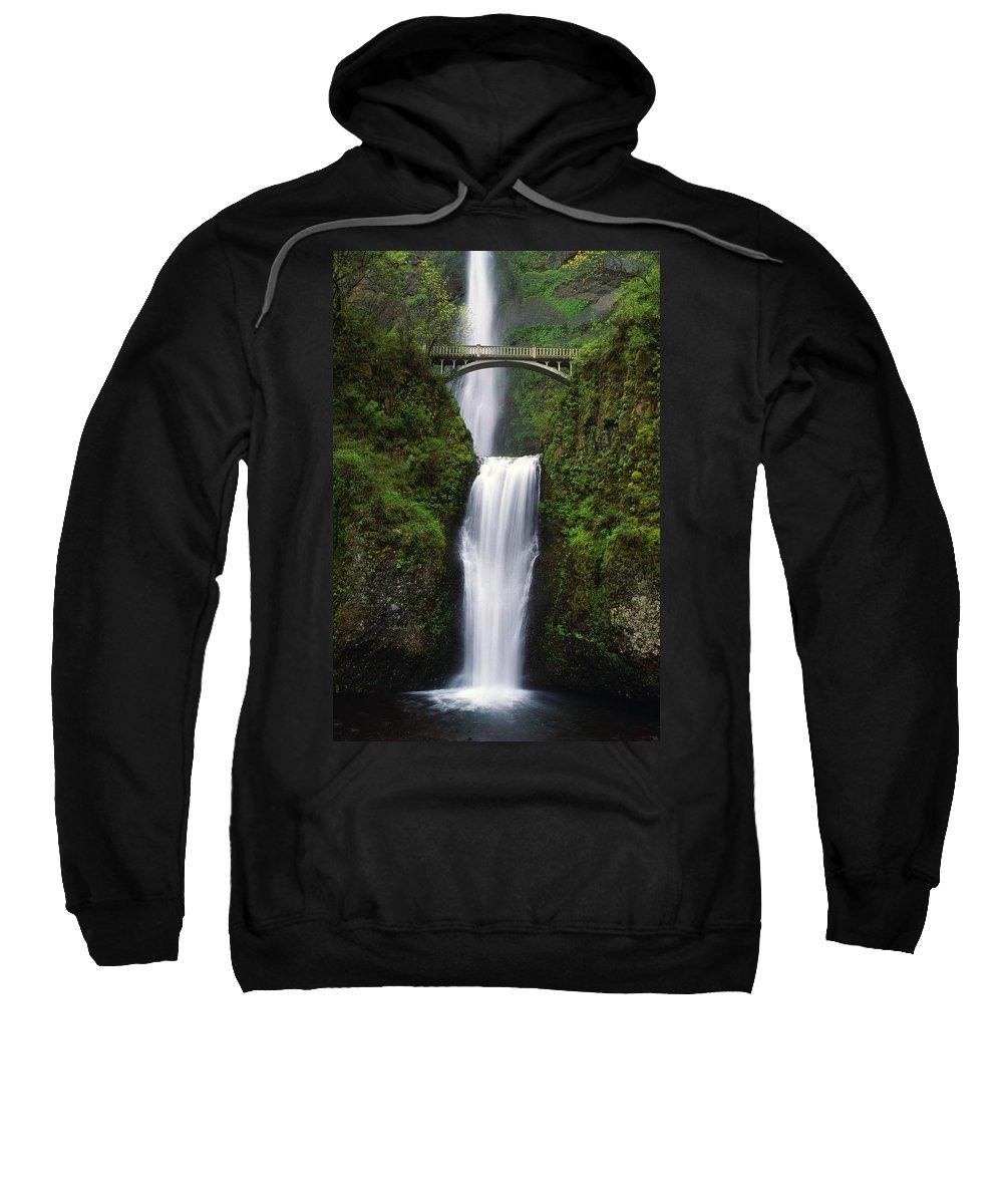 Bridge Sweatshirt featuring the photograph Multnomah Falls, Oregon, Usa by Dan Sherwood