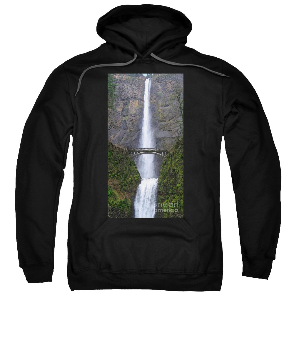 Waterfall Sweatshirt featuring the painting Multnomah Falls by Todd L Thomas
