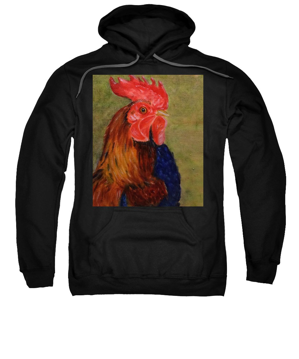 Rooster Sweatshirt featuring the painting Murray by Paula Emery