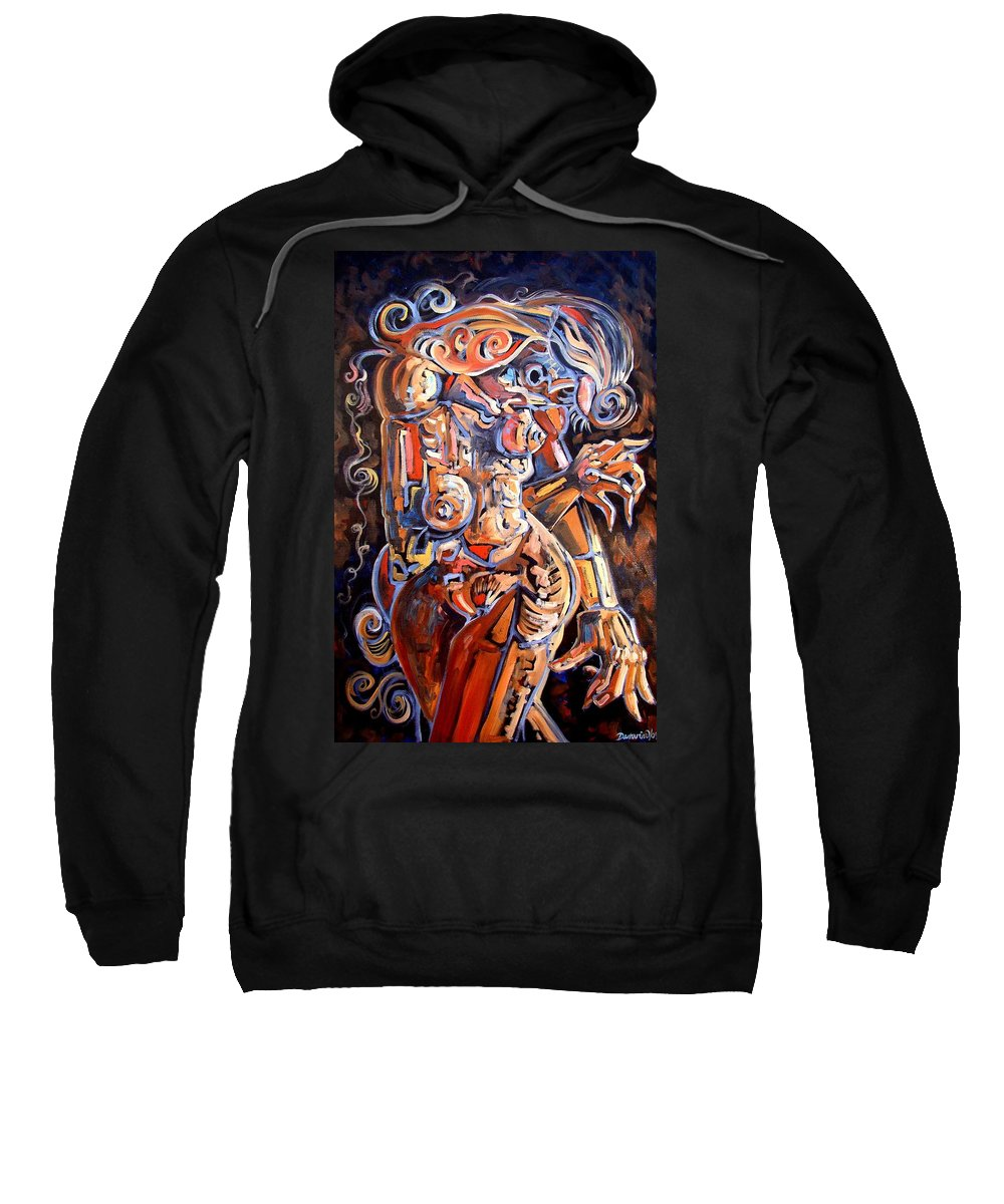 Surrealism Sweatshirt featuring the painting Muse In The Dark by Darwin Leon
