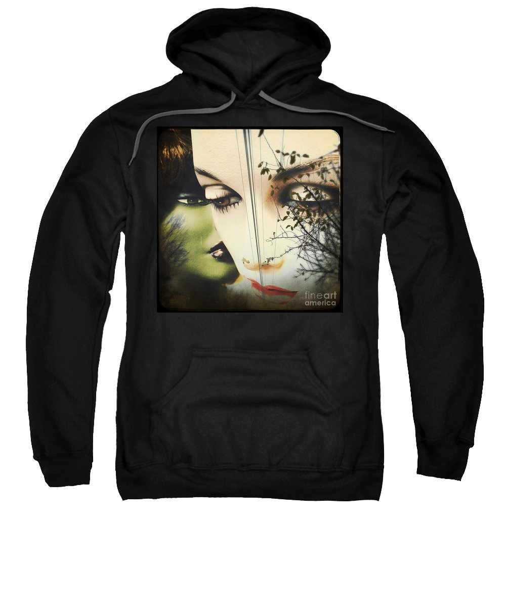 Collage Sweatshirt featuring the pyrography Muses by Colleen VT