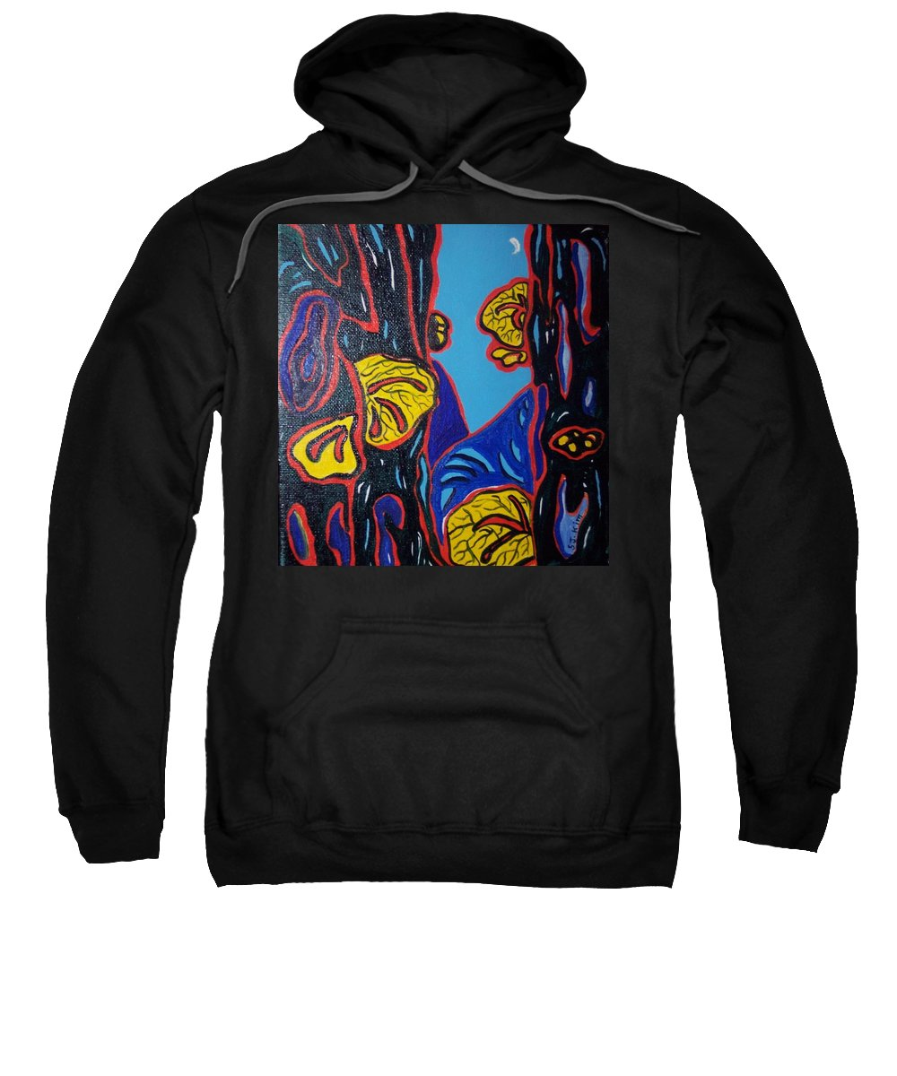Abstract Paintings Sweatshirt featuring the painting Mushroom On Trees by Seon-Jeong Kim