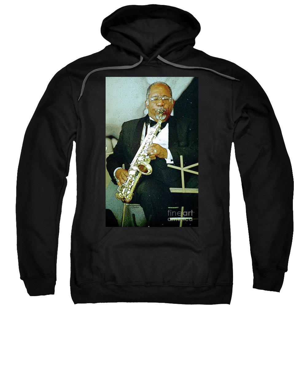 Abstract Sweatshirt featuring the photograph Music Man Saxophone 2 by Linda Parker