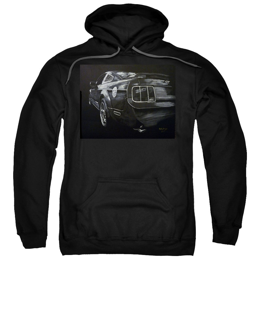 Ford Sweatshirt featuring the painting Mustang Rear by Richard Le Page