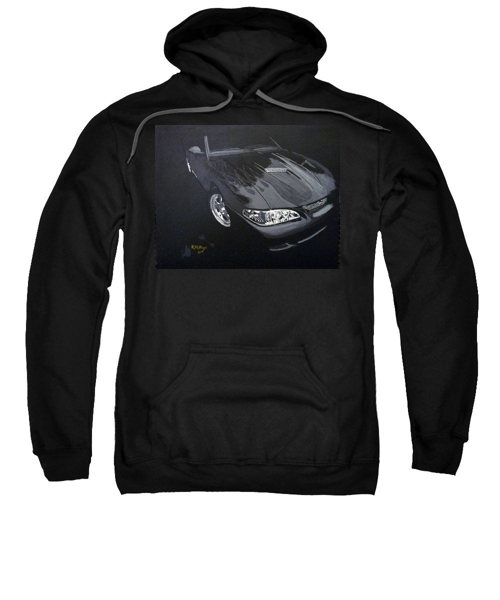 Mustang Sweatshirt featuring the painting Mustang With Flames by Richard Le Page